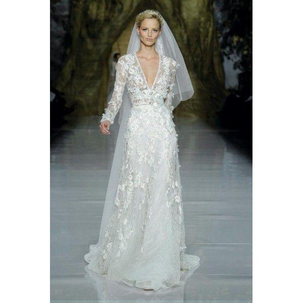Vintage long sleeve appliqued satin lace wedding dress