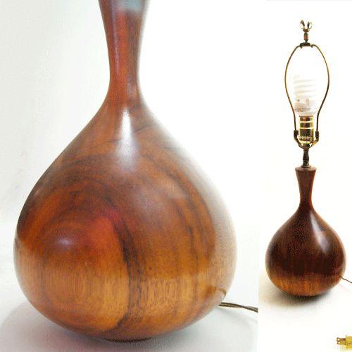 vtg 60s mid century modern turned wood table lamp teak walnut danish. Black Bedroom Furniture Sets. Home Design Ideas