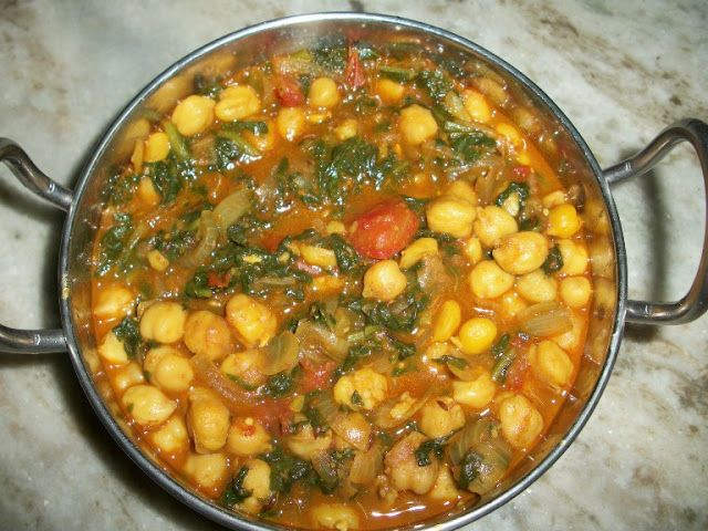 ... curried potatoes spinach and chickpeas spaghetti with chickpeas