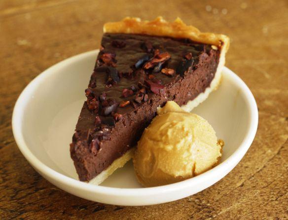 dark chocolate tart & salted caramel ice cream