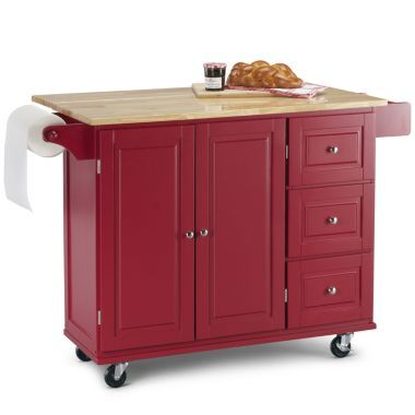 Sundance Extendable Rolling Kitchen Cart With Towel Rack Red