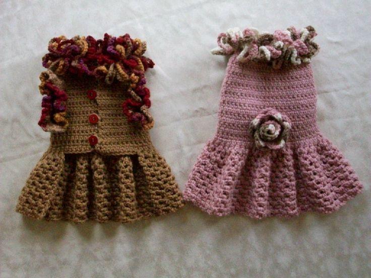 Crochet Xs Dog Sweater : Crochet Pet Dog Cat Clothes Apparel Sweater Dress Coat s XS XXS Pink ...