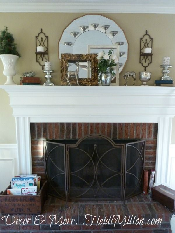 winter mantel fireplace  For the Home  Pinterest