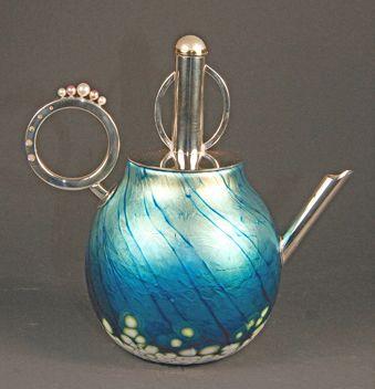 Elaine Hyde Glass and Precious Metal Tea Pot