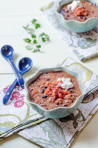 "Black Bean & Salsa Soup - affectionately called ""Two by Four"" S..."