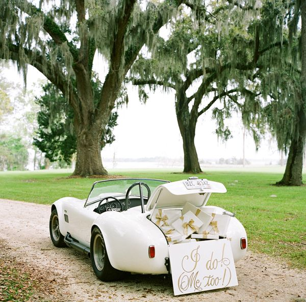 Use a classic car's trunk for guests to place their gifts in and add a sweet sign! // A Bryan Photo & Calder Clark Designs