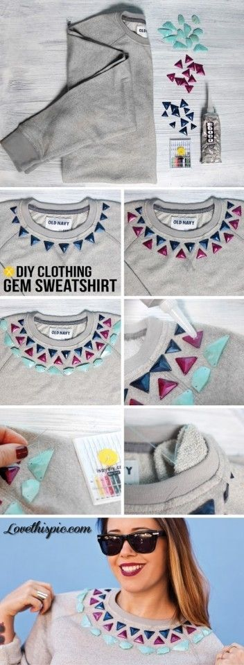 DIY Gem Sweatshirt diy crafts crafty fun crafts diy clothes easy diy kids crafts kids diy diy shirt diy fashion craft clothes craft shirt cool diy diy projevts