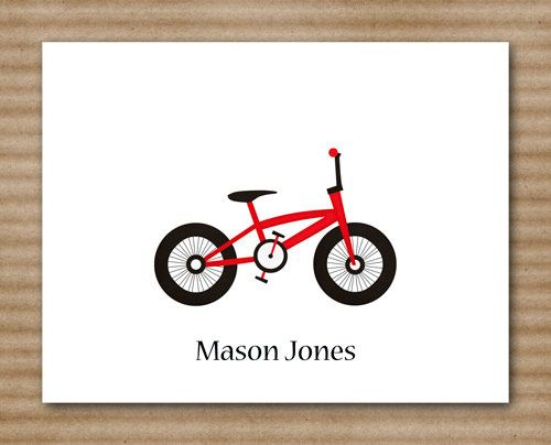 Bicycle Note Cards  Notecards  Card  Bike  Red Bike  Personalized ...