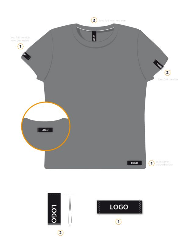 Men s t shirt woven label branding guide clothing tags Woven t shirt tags