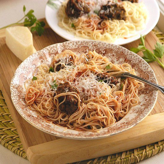 Spaghetti and Lentil Mushroom Meatballs-I was skeptical, but I didn't ...