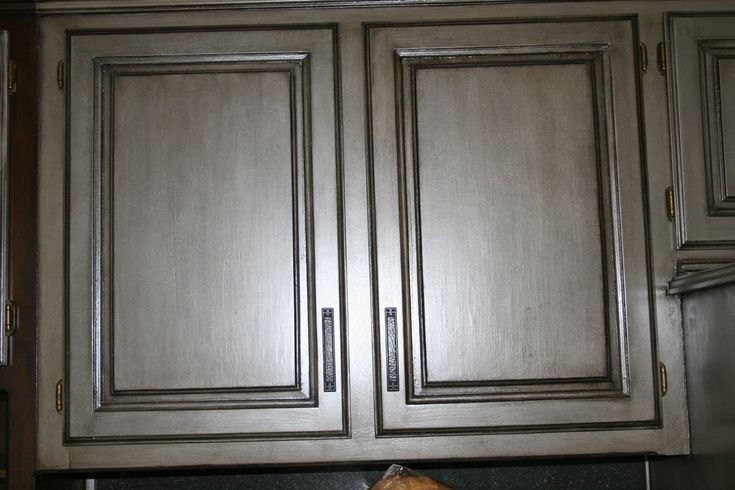 GRAY GLAZED painted kitchen cabinets  This finish is over glazed with