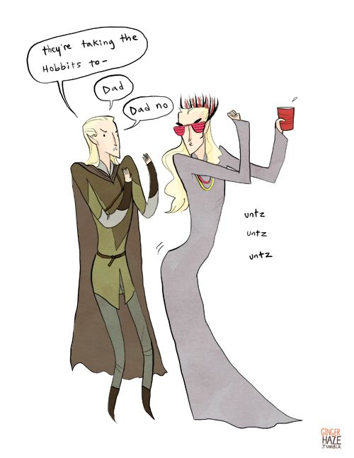 "party thranduil got his hands on the ten-hour version of ""they're taking the hobbits to isengard."""