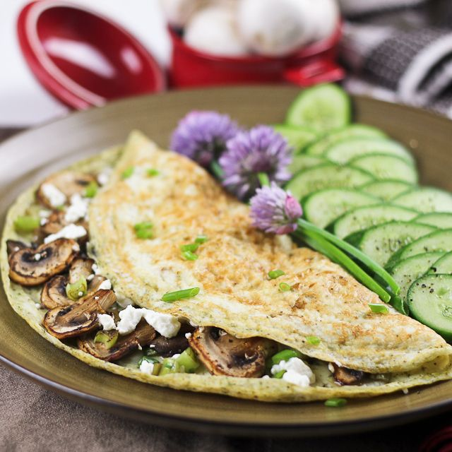 ... , Green Onion, and Goat Cheese Egg White Omelette- #clean eating