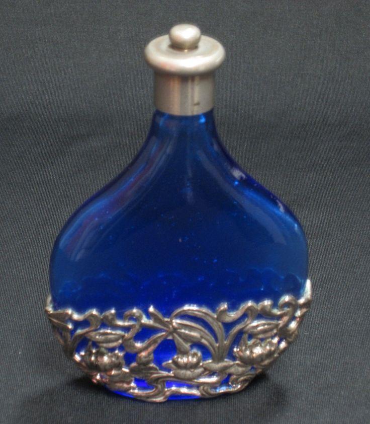 Vintage colored glass pewter design perfume bottle for Retro glass bottles