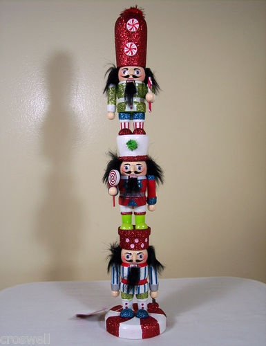 """New St Nicholas Square 14"""" Christmas Wooden Unique Stacked Nutcrackers 