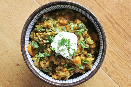 curried lentils and sweet potato