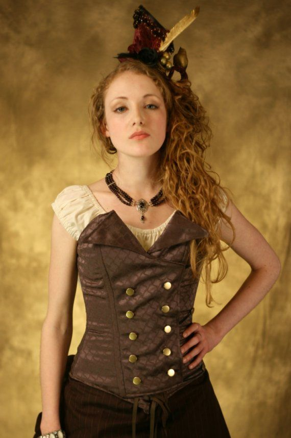 Brown double breasted corset ooak by damsel in this dress