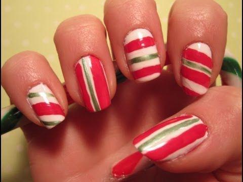 Holiday tutorial candy cane nail art holiday nails pinterest