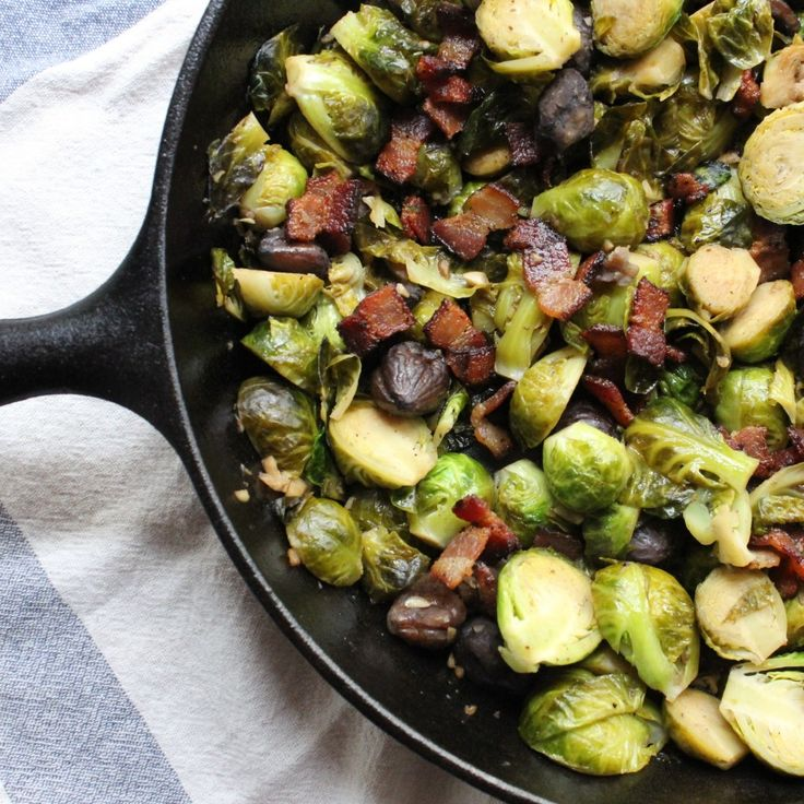 Cider-Braised Brussels Sprouts with Chestnuts and Bacon by Leaf Parade ...