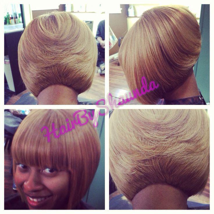 Short hair cut for black women . Quick weave bob ,blonde hair, hair by ...