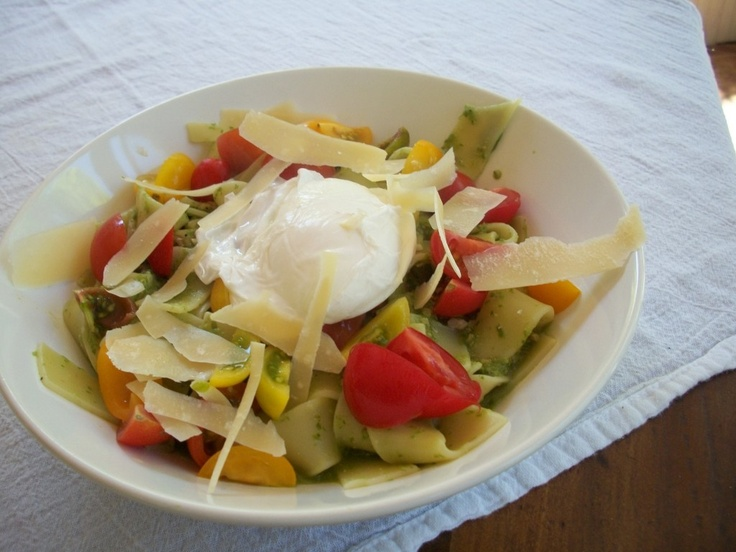 Poached egg over pasta with ramp pesto   Recipes to try   Pinterest
