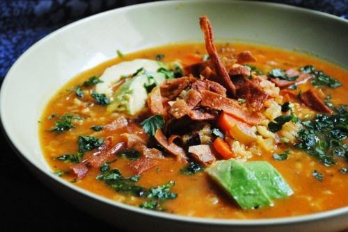 ... chipotle, lime, avocado, cilantro, chicken soup, and tortilla strips