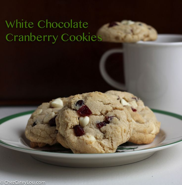 White Chocolate Cranberry Cookies - tart cranberries and sweet white ...