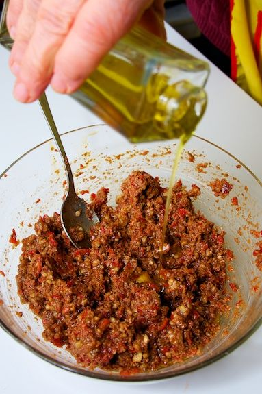 Tasty Muhammara. I used roasted red peppers and I just mixed the nuts ...