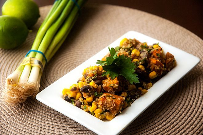 Spicy Sweet Potato, Black Bean & Corn Quinoa Salad   Recipe