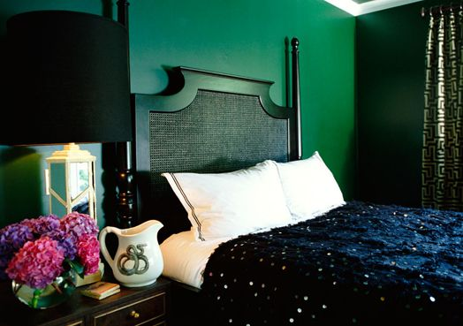 Kelly green wall and sparkly bedding for the home pinterest