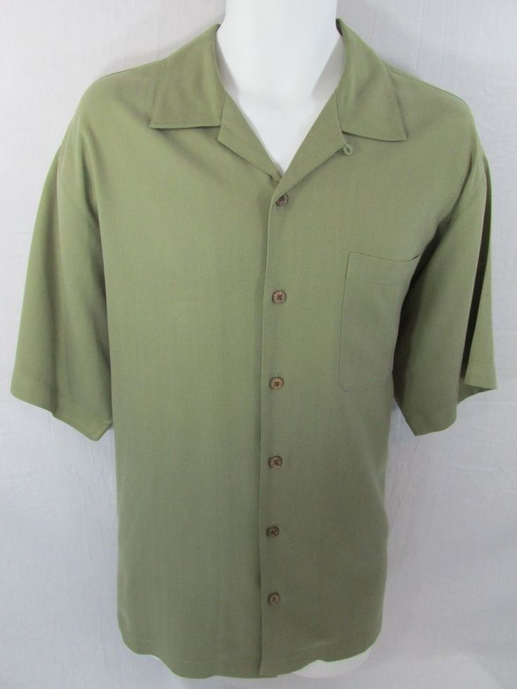 Tommy Bahama Mens Green Button Down Silk Short Sleeve