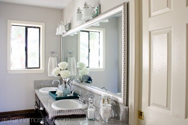 bathroom mirror makeover with mirrormate ask anna mirror framed in