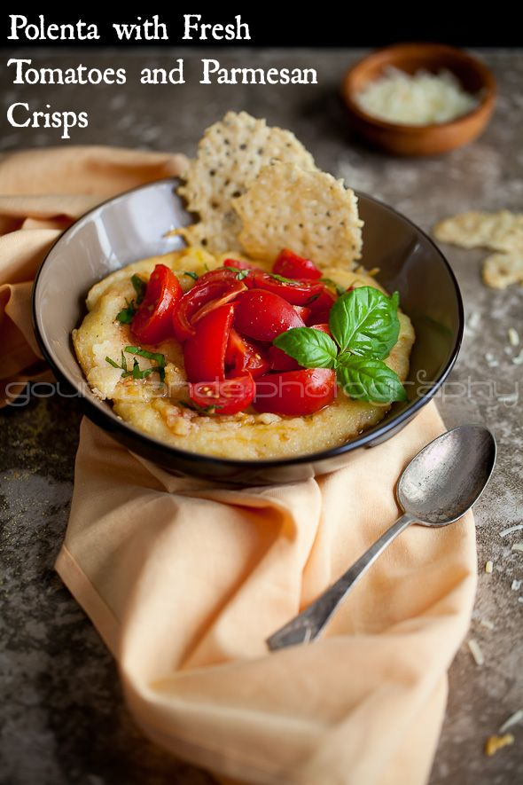 Creamy polenta is finished with a handful of parmesan and topped with ...