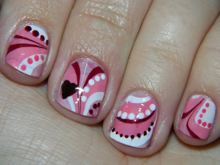 valentine's day marble nail art