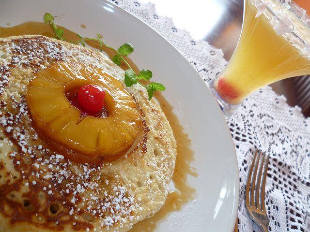 Piña Colada Upside-Down Pancakes & Coconut Rimmed Pineapple Mimosa...