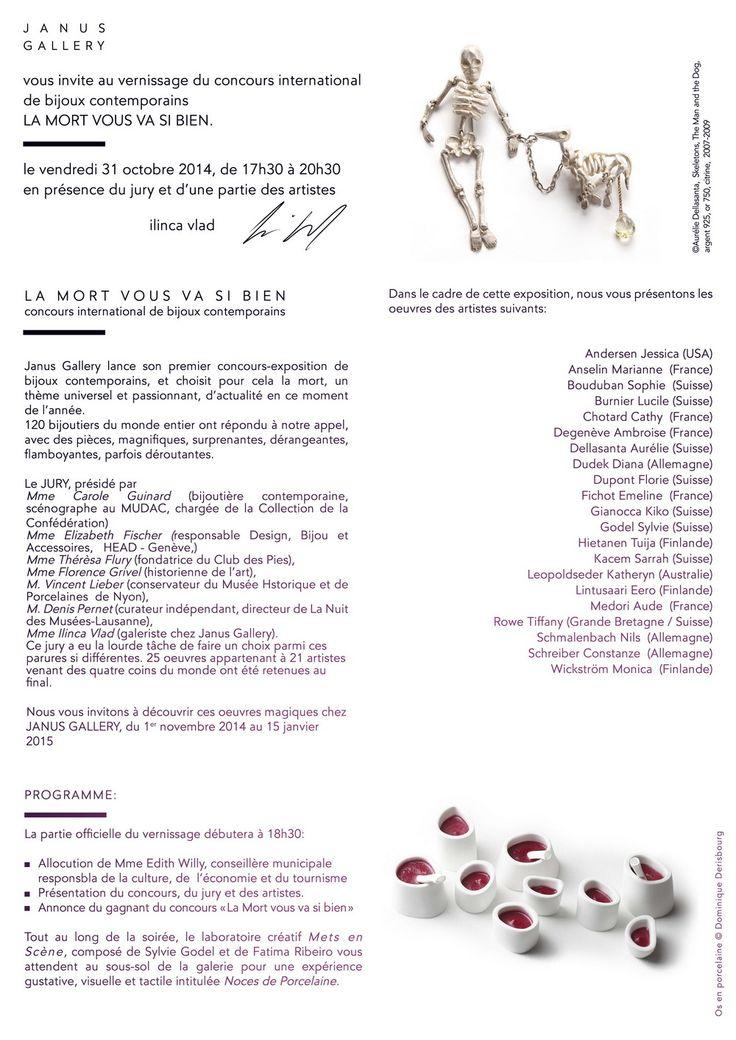 """Janus Gallery - """"la mort vous va si bien"""" JANUS GALLERY Avenue Claude Nobs 2 CH - 1820 Montreux   +41 (0)21 963 18 84 www.janusgallery.ch"""