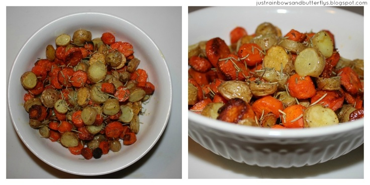 Roasted Fingerling and Carrot Coins | lovely side dishes | Pinterest