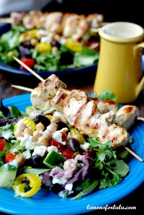 Greek Chicken Souvlaki Salad - romaine, feta, pepperoncini, kalamata ...
