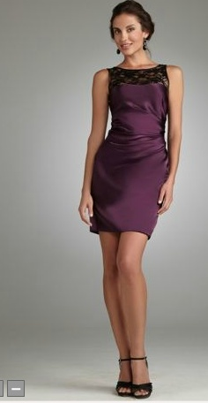 bridesmaid purple dress black shoes lace sequins