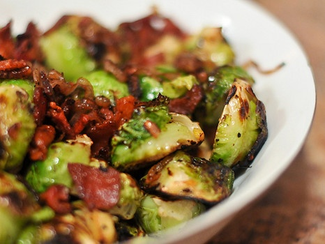 Braised Brussels Sprouts with Bacon and Shallots