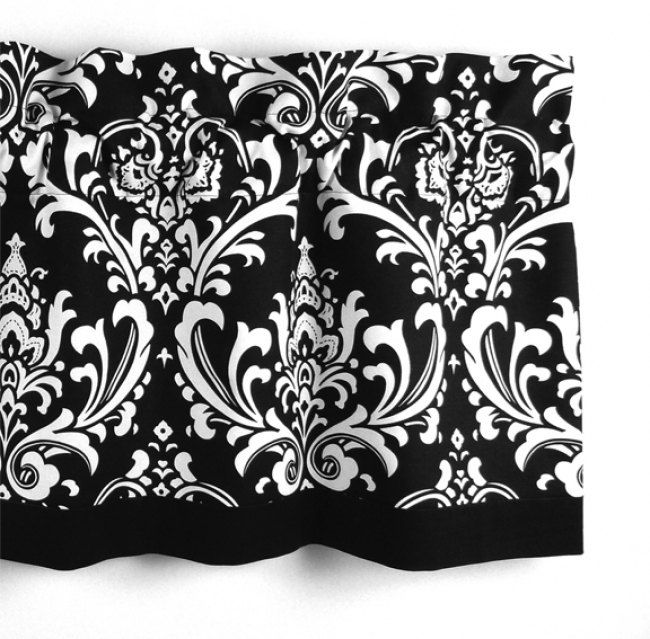 Damask Valance In Black White Floral Pattern Curtain