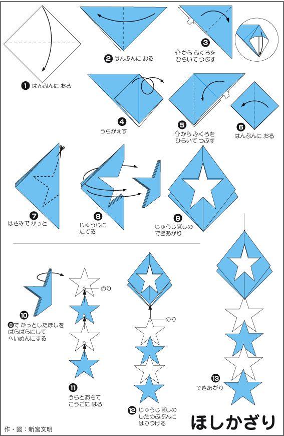 すべての折り紙 折り紙 彦星 織姫 : 赤と青と白で作れば7/4にも ...