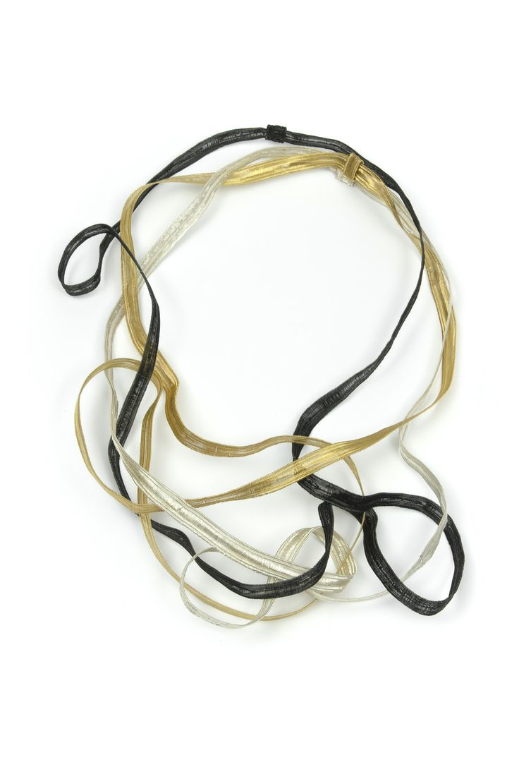 "Lilia Breyter - ""des sarments suvages"" 2013 - necklace -  copper wire, weaved in manual loom, gold plated, slver plated, oxidized"
