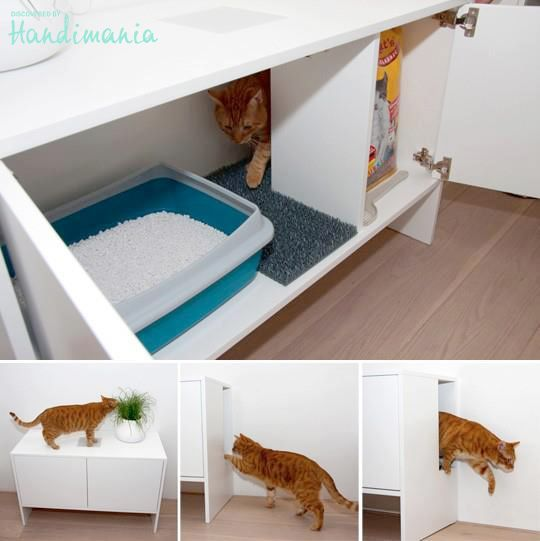 Hidden cat litter box for my two furry babies princess sophia marie prince anakin pinterest - Meuble litiere chat ikea ...