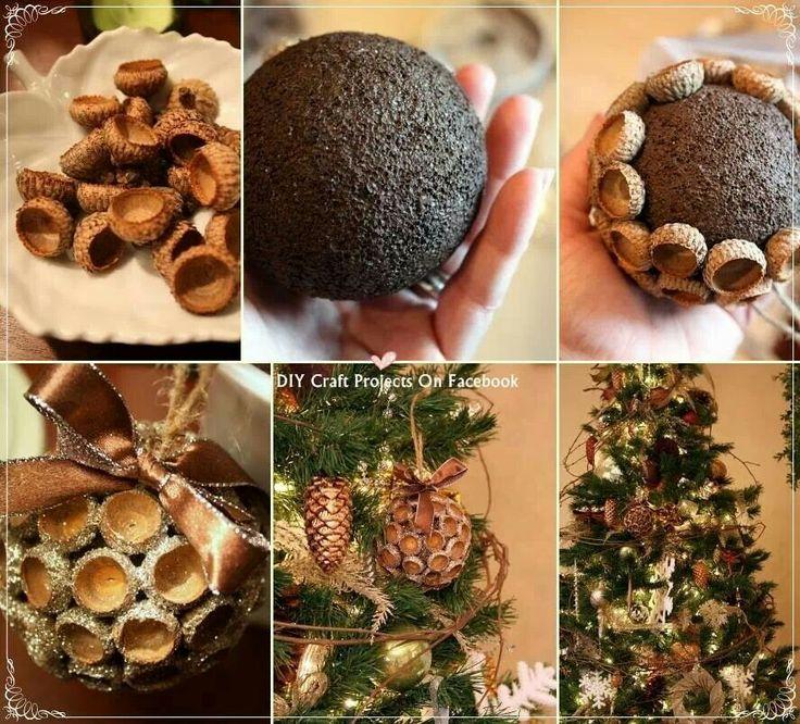Glittery acorn ornament autumn thanksgiving pinterest for Diy acorn crafts