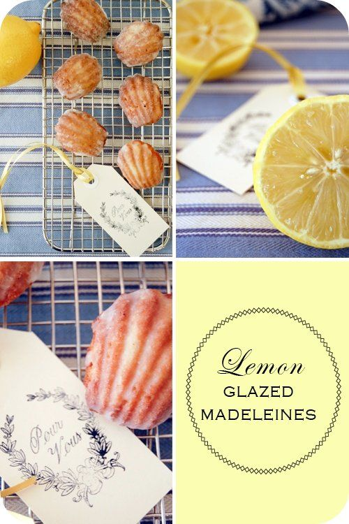 Lemon Glazed Madeleines- cute name tags, could attach a dried lemon ...
