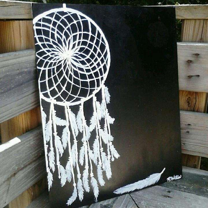 Dream catcher painting medium black and white acrylic for Acrylic painting on black background