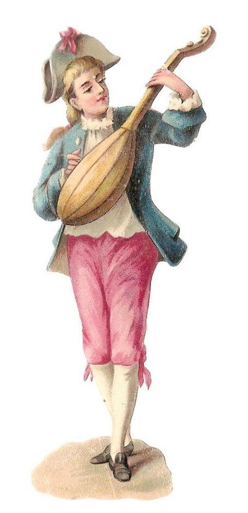 Un Jeune Homme - Musicien Costume - - Chromo Decoupi  - Victorian Scrap