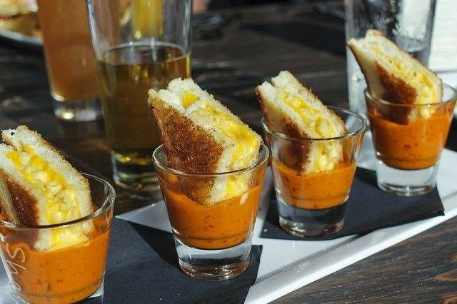 Tomato soup shots topped with Grilled Macaroni and cheese sandwich ...