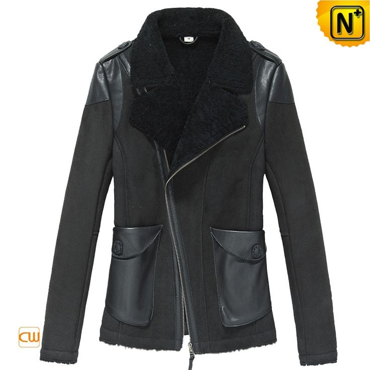 Cropped Leather Shearling Jacket for Women CW640102 $1548.89 - www